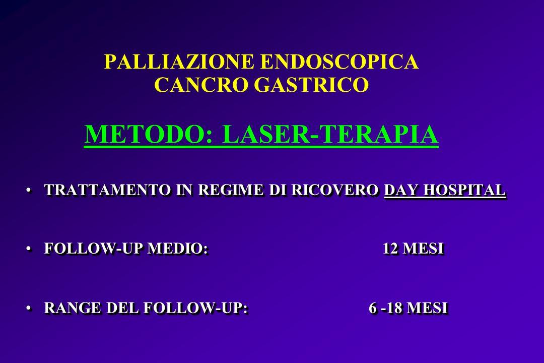 PALLIAZIONE ENDOSCOPICA CANCRO GASTRICO METODO: LASER-TERAPIA TRATTAMENTO IN REGIME DI RICOVERO DAY HOSPITALTRATTAMENTO IN REGIME DI RICOVERO DAY HOSP