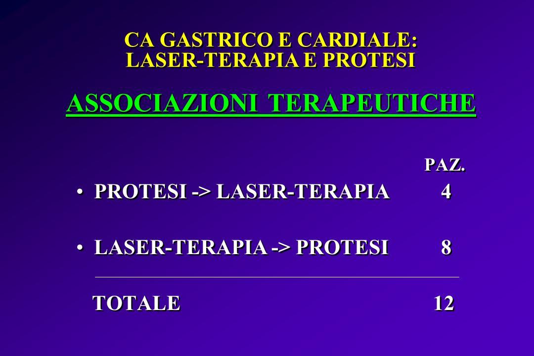 CA GASTRICO E CARDIALE: LASER-TERAPIA E PROTESI ASSOCIAZIONI TERAPEUTICHE PAZ. PROTESI -> LASER-TERAPIA 4 LASER-TERAPIA -> PROTESI 8 TOTALE 12 PAZ. PR