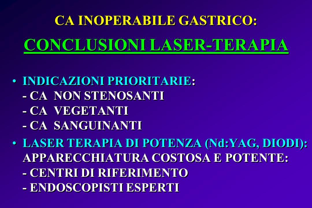 CA INOPERABILE GASTRICO: CONCLUSIONI LASER-TERAPIA INDICAZIONI PRIORITARIE: - CA NON STENOSANTI - CA VEGETANTI - CA SANGUINANTI LASER TERAPIA DI POTEN