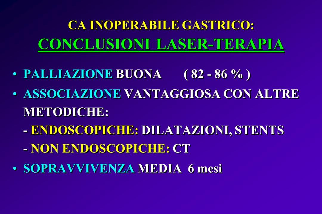 CA INOPERABILE GASTRICO: CONCLUSIONI LASER-TERAPIA PALLIAZIONE BUONA ( 82 - 86 % ) ASSOCIAZIONE VANTAGGIOSA CON ALTRE METODICHE: - ENDOSCOPICHE: DILAT