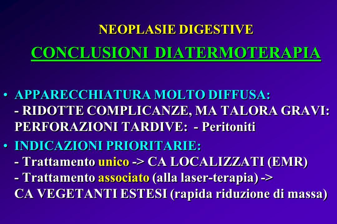 NEOPLASIE DIGESTIVE CONCLUSIONI DIATERMOTERAPIA APPARECCHIATURA MOLTO DIFFUSA: - RIDOTTE COMPLICANZE, MA TALORA GRAVI: PERFORAZIONI TARDIVE: - Periton