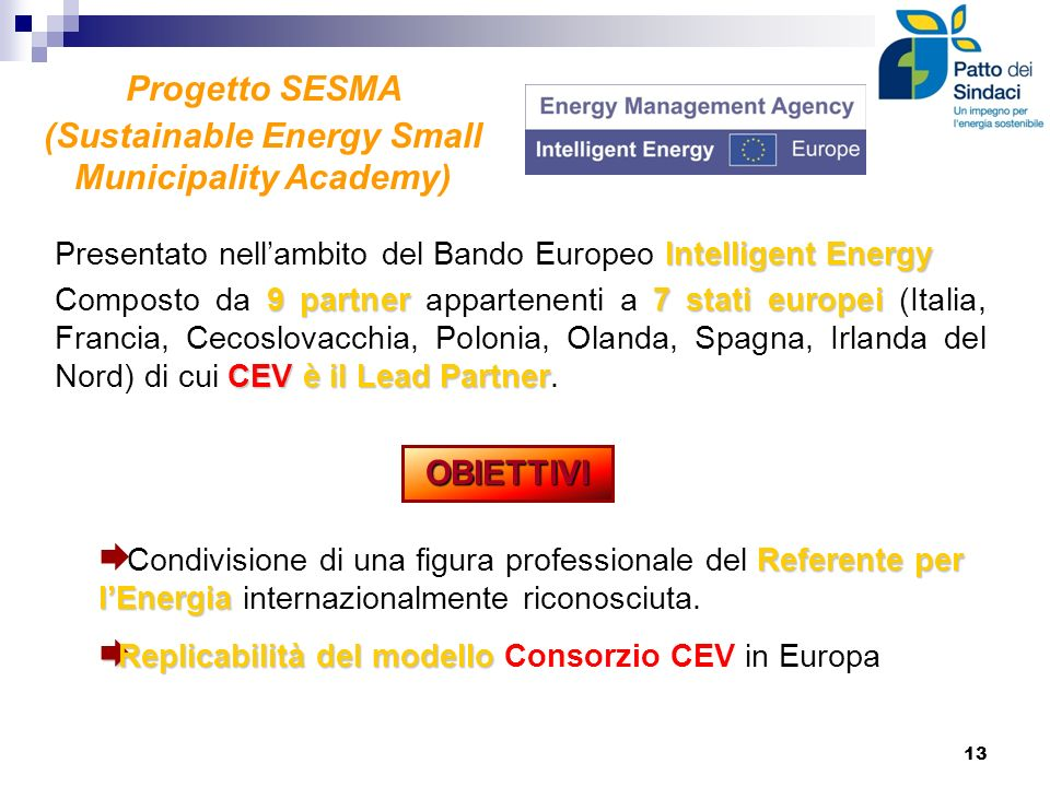 Progetto SESMA (Sustainable Energy Small Municipality Academy) Intelligent Energy Presentato nellambito del Bando Europeo Intelligent Energy 9 partner
