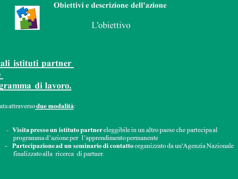 Obiettivi e descrizione dell azione L obiettivo incontrare potenziali istituti partner e sviluppare un programma di lavoro.