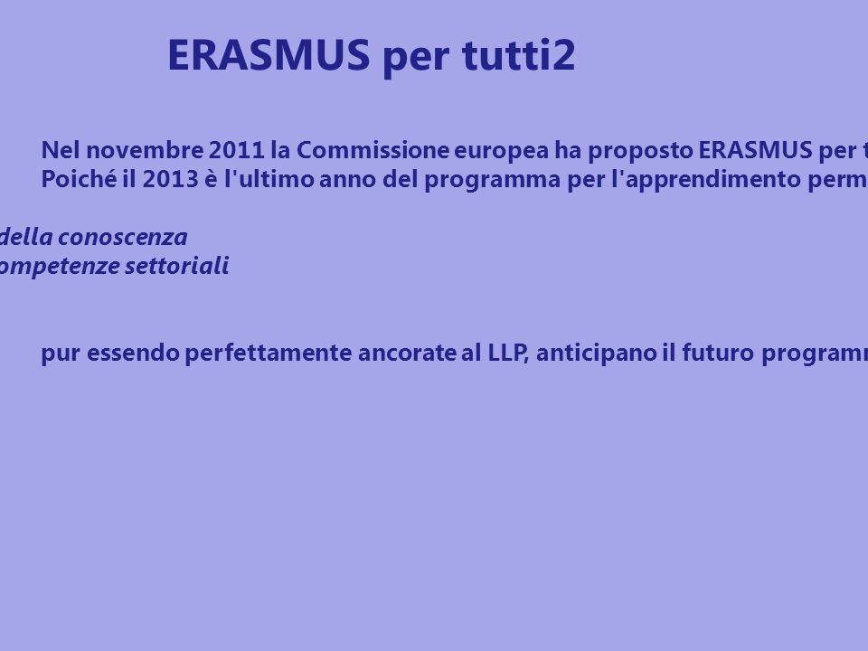 Nel novembre 2011 la Commissione europea ha proposto ERASMUS per tutti2, il programma dell Unione per l istruzione, per la formazione, la gioventù e lo sport per il periodo 2014 - 2020.