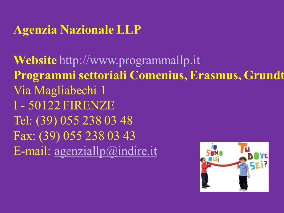 Agenzia Nazionale LLP Website http://www.programmallp.ithttp://www.programmallp.it Programmi settoriali Comenius, Erasmus, Grundtvig e Visite di Studio - AS Agenzia Scuola Via Magliabechi 1 I - 50122 FIRENZE Tel: (39) 055 238 03 48 Fax: (39) 055 238 03 43 E-mail: agenziallp@indire.it agenziallp@indire.it