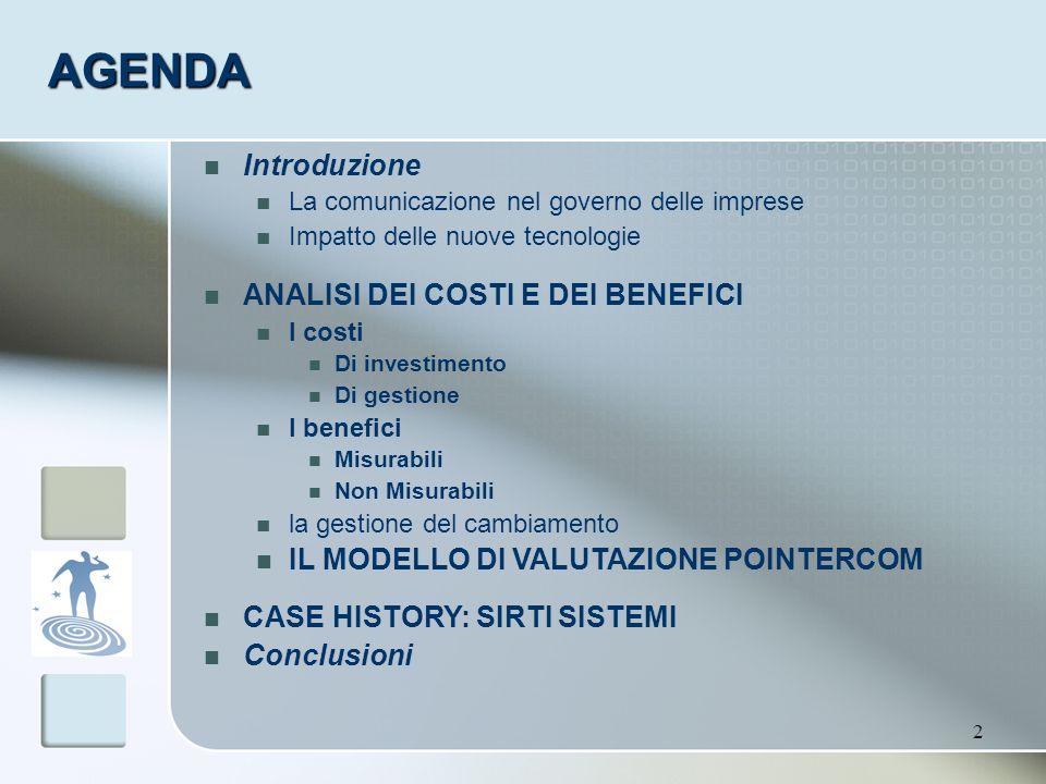 2 AGENDA Introduzione La comunicazione nel governo delle imprese Impatto delle nuove tecnologie ANALISI DEI COSTI E DEI BENEFICI I costi Di investimen