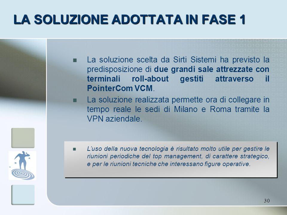 30 LA SOLUZIONE ADOTTATA IN FASE 1 La soluzione scelta da Sirti Sistemi ha previsto la predisposizione di due grandi sale attrezzate con terminali rol