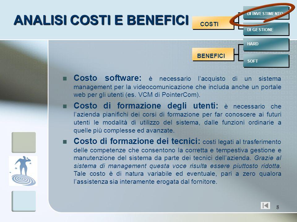 8 COSTI BENEFICI DI INVESTIMENTO DI GESTIONE HARD SOFT Costo software: è necessario lacquisto di un sistema management per la videocomunicazione che i