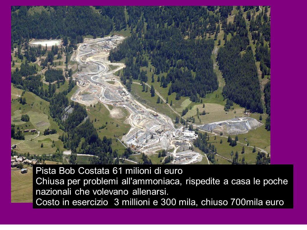 Pista Bob Costata 61 milioni di euro Chiusa per problemi all'ammoniaca, rispedite a casa le poche nazionali che volevano allenarsi. Costo in esercizio