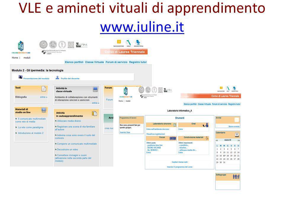 VLE e amineti vituali di apprendimento www.iuline.it www.iuline.it