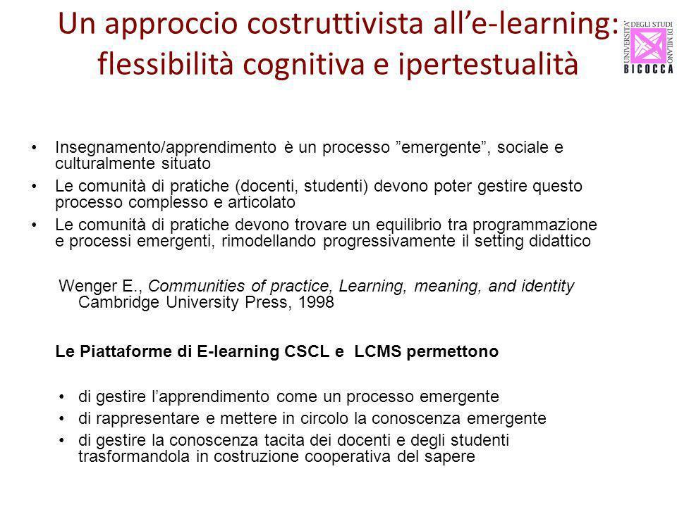 Insegnamento/apprendimento è un processo emergente, sociale e culturalmente situato Le comunità di pratiche (docenti, studenti) devono poter gestire q