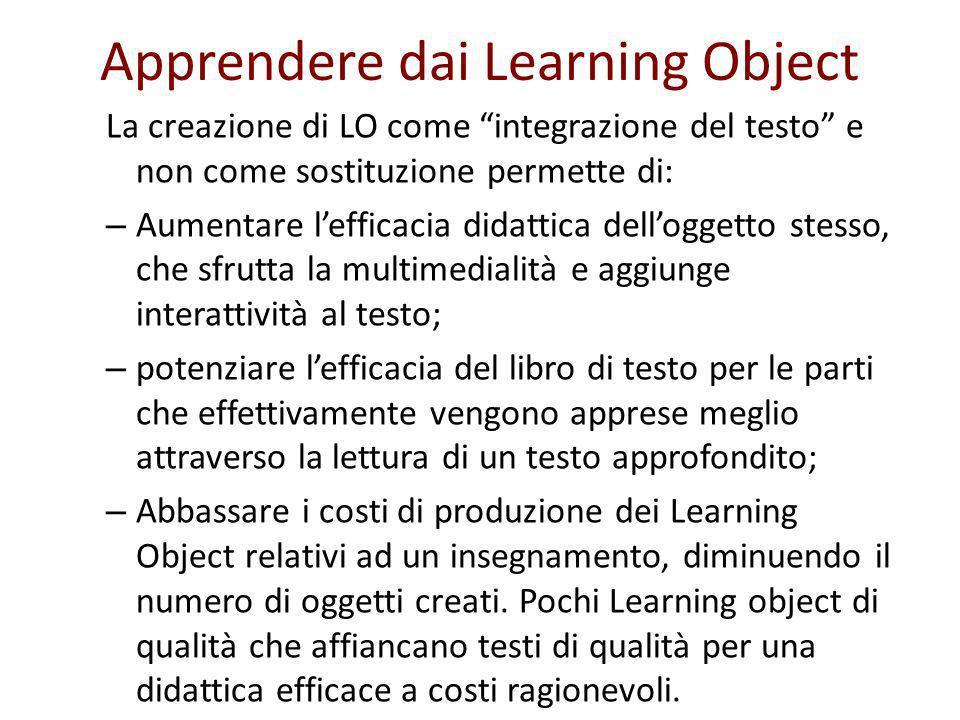 Apprendere dai Learning Object La creazione di LO come integrazione del testo e non come sostituzione permette di: – Aumentare lefficacia didattica de