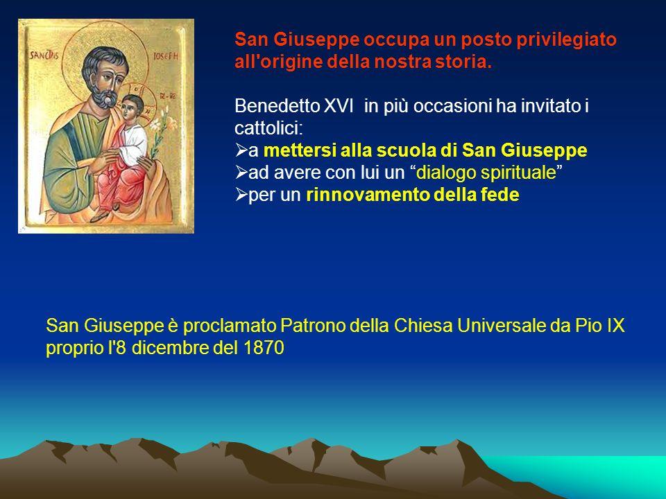 San Giuseppe occupa un posto privilegiato all'origine della nostra storia. Benedetto XVI in più occasioni ha invitato i cattolici: a mettersi alla scu