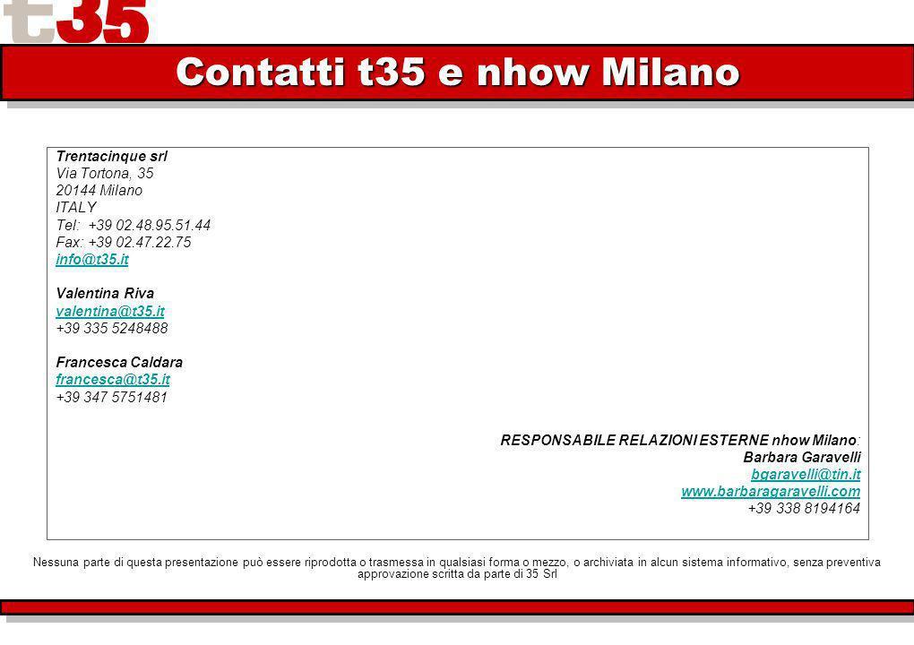 Trentacinque srl Via Tortona, 35 20144 Milano ITALY Tel: +39 02.48.95.51.44 Fax: +39 02.47.22.75 info@t35.it Valentina Riva valentina@t35.it +39 335 5248488 Francesca Caldara francesca@t35.it +39 347 5751481 RESPONSABILE RELAZIONI ESTERNE nhow Milano: Barbara Garavelli bgaravelli@tin.it www.barbaragaravelli.com +39 338 8194164 Contatti t35 e nhow Milano Nessuna parte di questa presentazione può essere riprodotta o trasmessa in qualsiasi forma o mezzo, o archiviata in alcun sistema informativo, senza preventiva approvazione scritta da parte di 35 Srl