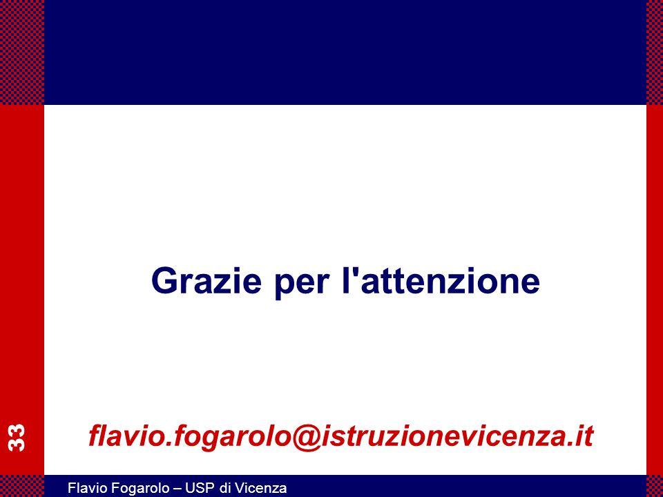 33 Flavio Fogarolo – USP di Vicenza Grazie per l'attenzione flavio.fogarolo@istruzionevicenza.it