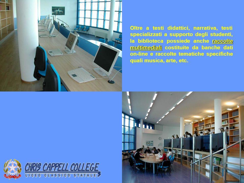 raccolte multimediali Oltre a testi didattici, narrativa, testi specializzati a supporto degli studenti, la biblioteca possiede anche raccolte multimediali costituite da banche dati on-line e raccolte tematiche specifiche quali musica, arte, etc.