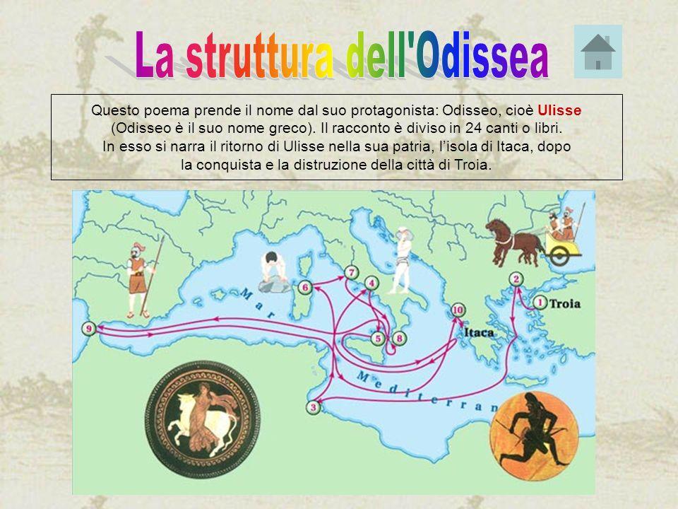 Questo poema prende il nome dal suo protagonista: Odisseo, cioè Ulisse (Odisseo è il suo nome greco). Il racconto è diviso in 24 canti o libri. In ess