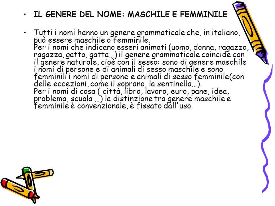 IL GENERE DEL NOME: MASCHILE E FEMMINILE Tutti i nomi hanno un genere grammaticale che, in italiano, può essere maschile o femminile. Per i nomi che i