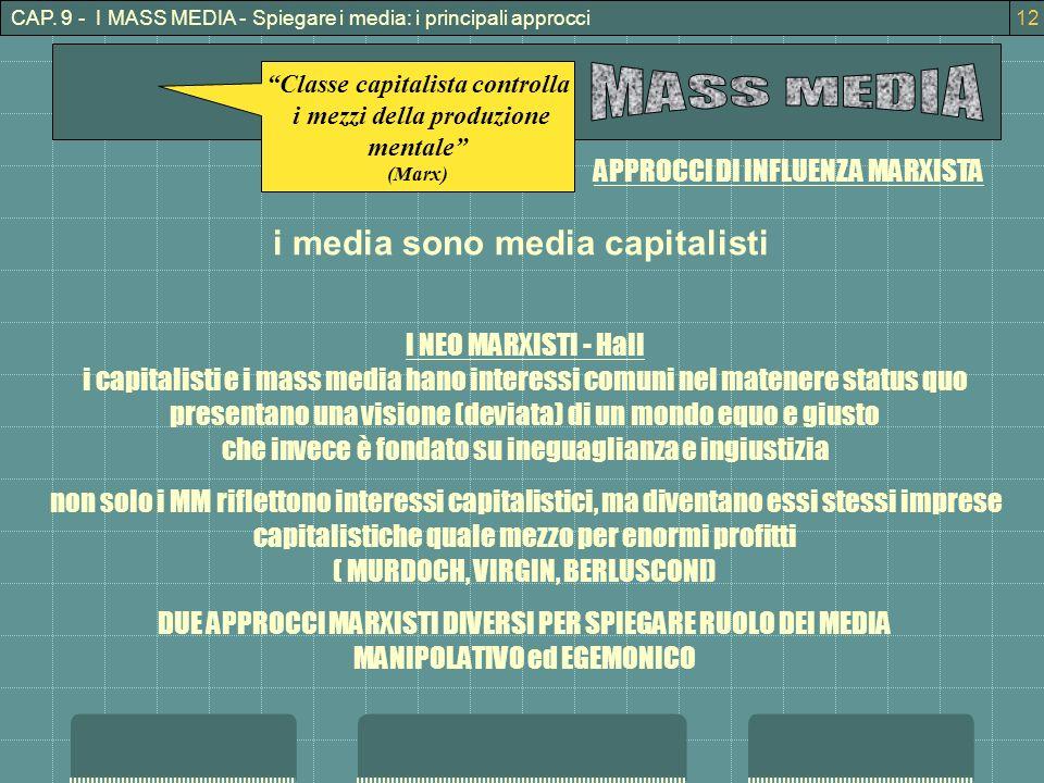 Classe capitalista controlla i mezzi della produzione mentale (Marx) i media sono media capitalisti APPROCCI DI INFLUENZA MARXISTA I NEO MARXISTI - Hall i capitalisti e i mass media hano interessi comuni nel matenere status quo presentano una visione (deviata) di un mondo equo e giusto che invece è fondato su ineguaglianza e ingiustizia non solo i MM riflettono interessi capitalistici, ma diventano essi stessi imprese capitalistiche quale mezzo per enormi profitti ( MURDOCH, VIRGIN, BERLUSCONI) DUE APPROCCI MARXISTI DIVERSI PER SPIEGARE RUOLO DEI MEDIA MANIPOLATIVO ed EGEMONICO CAP.