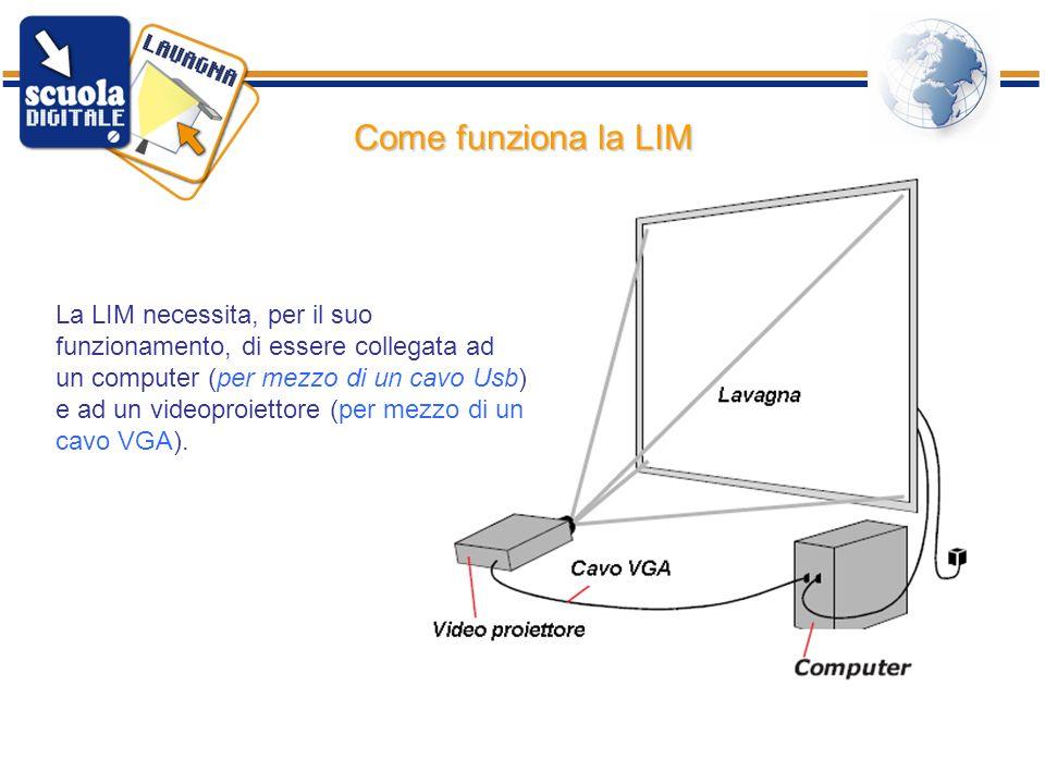 ISIS Bertola Rimini17 Come funziona la LIM La LIM necessita, per il suo funzionamento, di essere collegata ad un computer (per mezzo di un cavo Usb) e