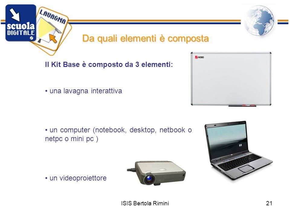 ISIS Bertola Rimini21 Da quali elementi è composta Il Kit Base è composto da 3 elementi: una lavagna interattiva un computer (notebook, desktop, netbo