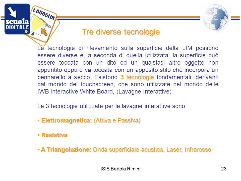 ISIS Bertola Rimini23 Tre diverse tecnologie Le tecnologie di rilevamento sulla superficie della LIM possono essere diverse e, a seconda di quella uti