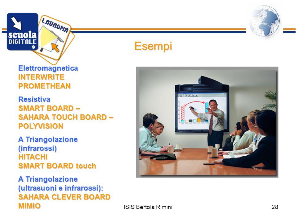ISIS Bertola Rimini28 Esempi Elettromagnetica INTERWRITE PROMETHEAN Resistiva SMART BOARD – SAHARA TOUCH BOARD – POLYVISION A Triangolazione (infraros