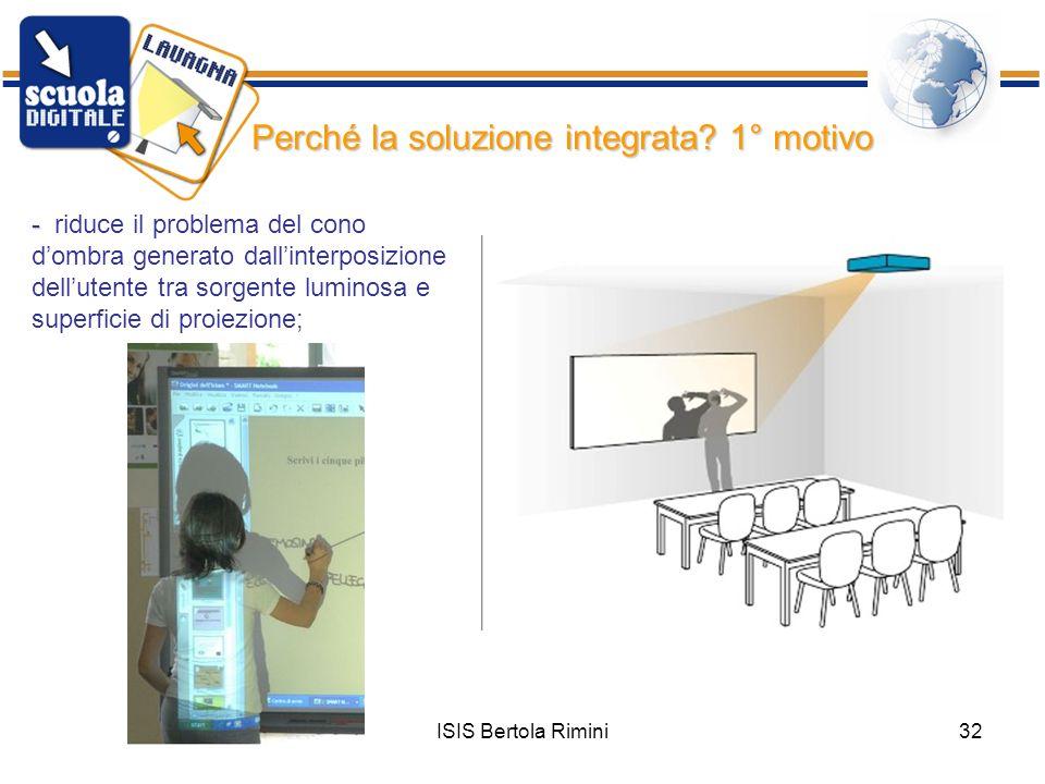 ISIS Bertola Rimini32 - riduce il problema del cono dombra generato dallinterposizione dellutente tra sorgente luminosa e superficie di proiezione; Pe