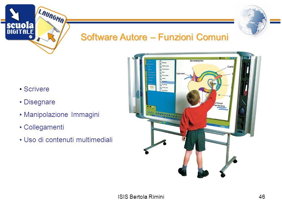 ISIS Bertola Rimini46 Software Autore – Funzioni Comuni Scrivere Disegnare Manipolazione Immagini Collegamenti Uso di contenuti multimediali