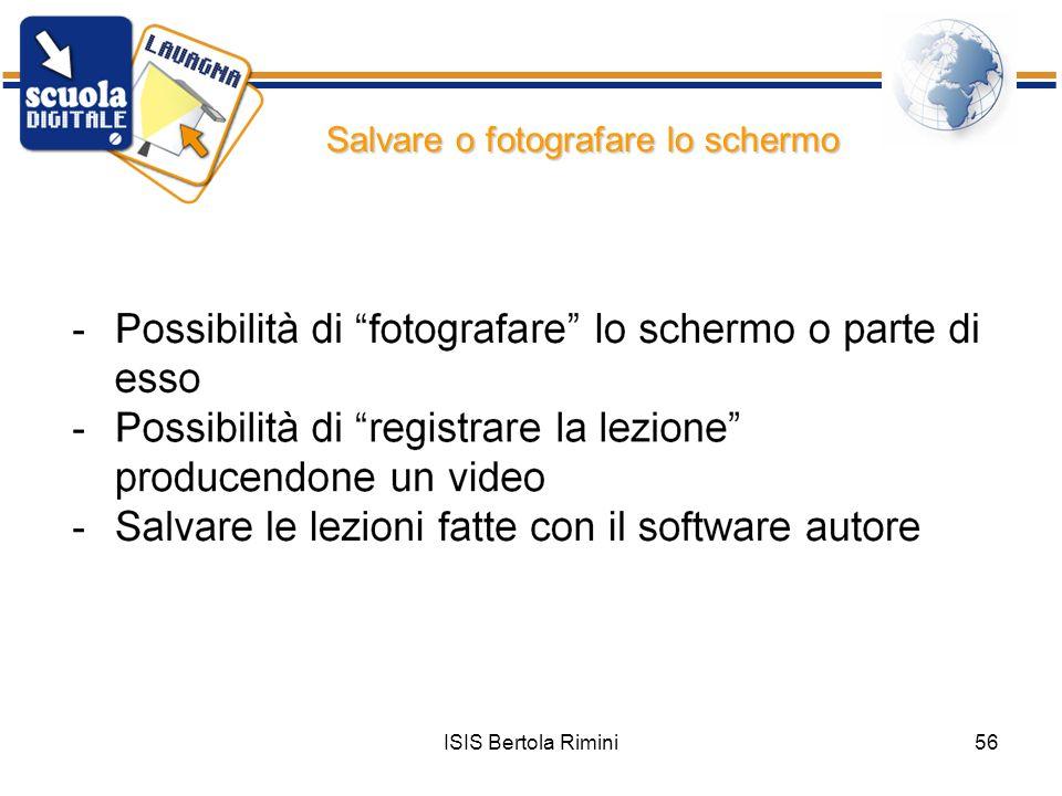 ISIS Bertola Rimini56 Salvare o fotografare lo schermo