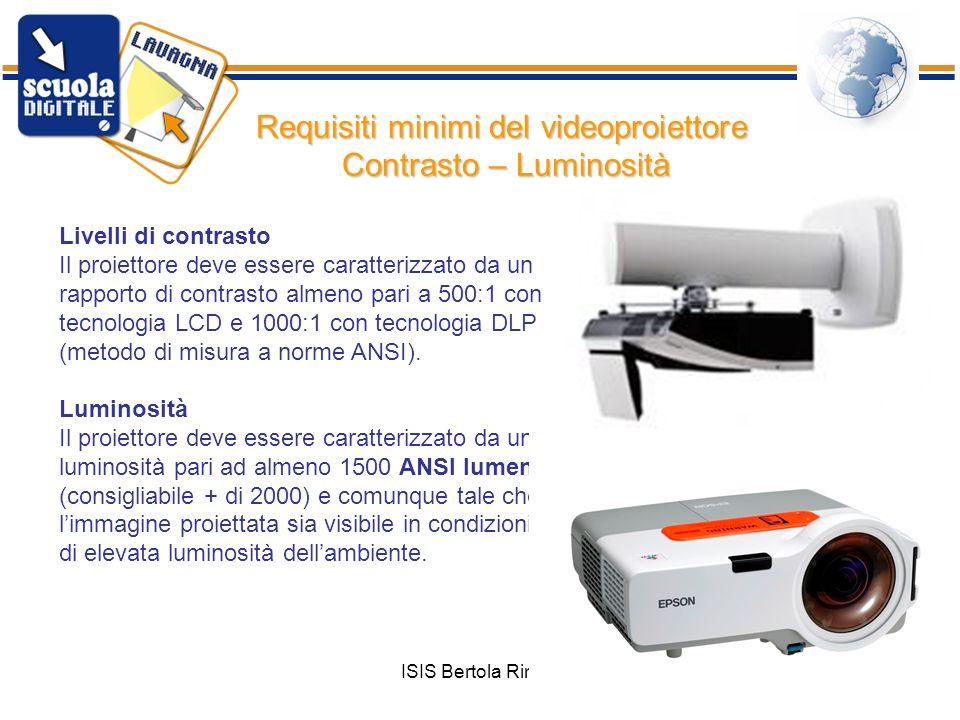ISIS Bertola Rimini61 Livelli di contrasto Il proiettore deve essere caratterizzato da un rapporto di contrasto almeno pari a 500:1 con tecnologia LCD