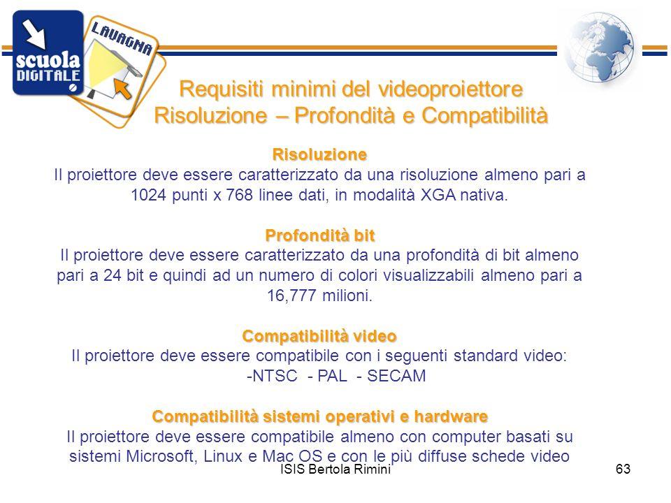 ISIS Bertola Rimini63 Requisiti minimi del videoproiettore Risoluzione – Profondità e Compatibilità Risoluzione Il proiettore deve essere caratterizza