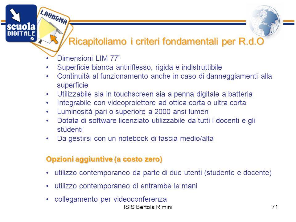 ISIS Bertola Rimini71 Dimensioni LIM 77 Superficie bianca antiriflesso, rigida e indistruttibile Continuità al funzionamento anche in caso di danneggi