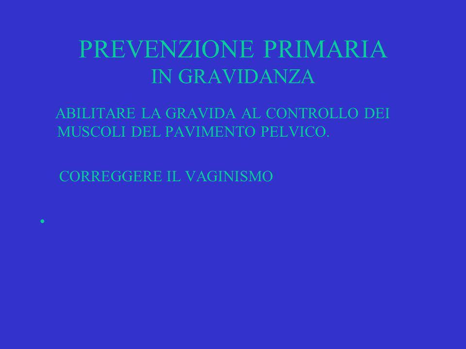 PREVENZIONE PRIMARIA IN GRAVIDANZA ABILITARE LA GRAVIDA AL CONTROLLO DEI MUSCOLI DEL PAVIMENTO PELVICO.