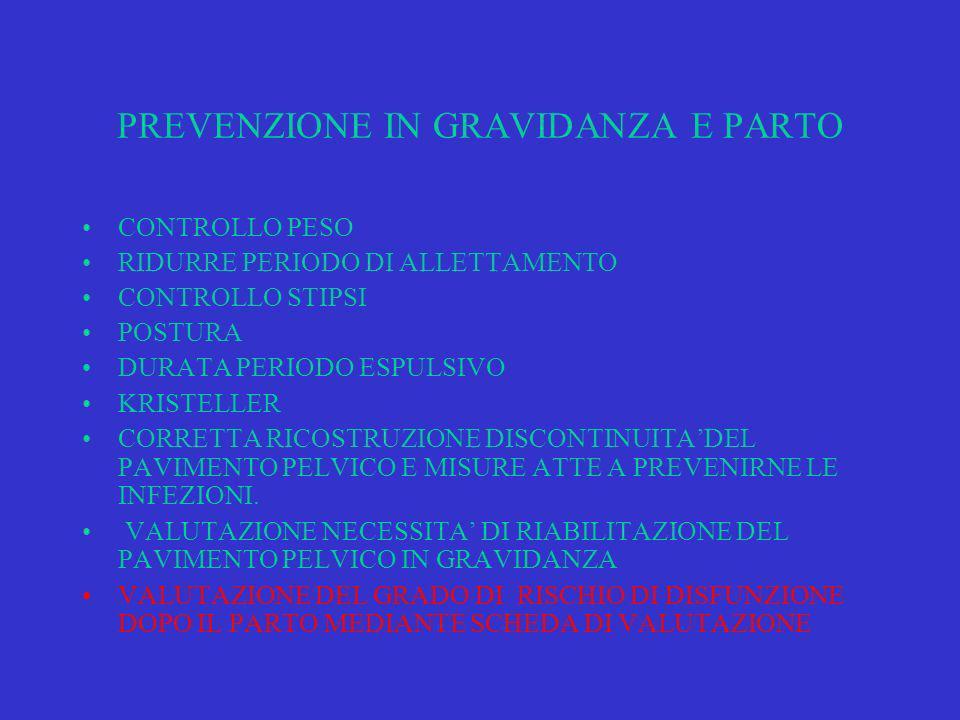 PREVENZIONE IN GRAVIDANZA E PARTO CONTROLLO PESO RIDURRE PERIODO DI ALLETTAMENTO CONTROLLO STIPSI POSTURA DURATA PERIODO ESPULSIVO KRISTELLER CORRETTA RICOSTRUZIONE DISCONTINUITADEL PAVIMENTO PELVICO E MISURE ATTE A PREVENIRNE LE INFEZIONI.