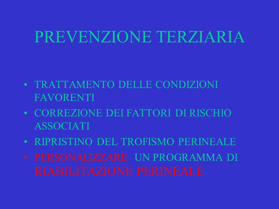 PREVENZIONE TERZIARIA TRATTAMENTO DELLE CONDIZIONI FAVORENTI CORREZIONE DEI FATTORI DI RISCHIO ASSOCIATI RIPRISTINO DEL TROFISMO PERINEALE PERSONALIZZARE UN PROGRAMMA DI RIABILITAZIONE PERINEALE