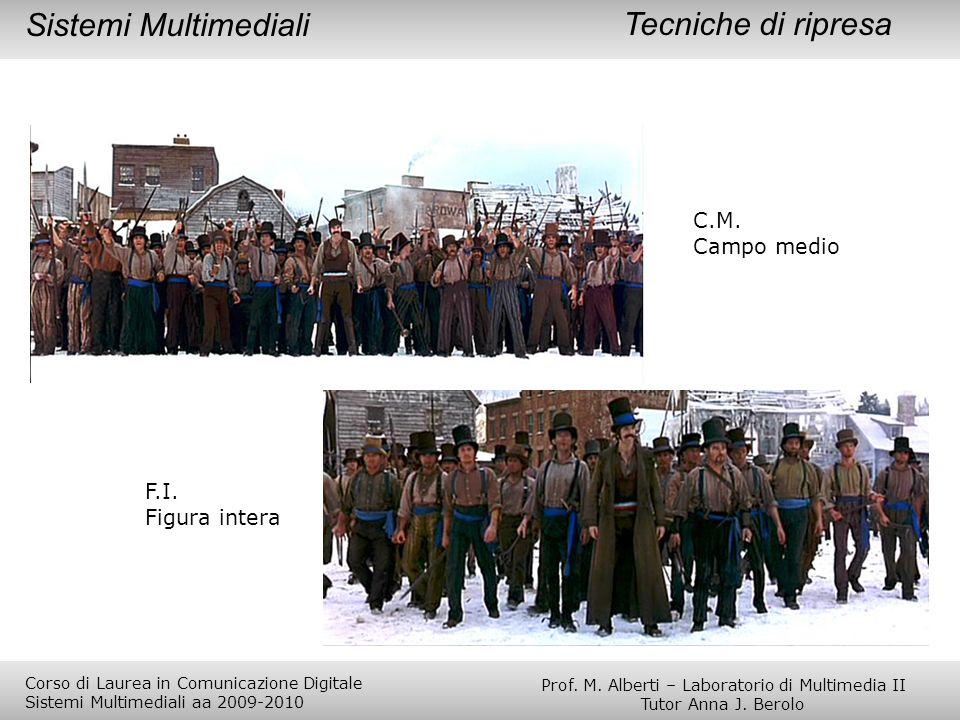 C.M. Campo medio F.I. Figura intera Tecniche di ripresaSistemi Multimediali Prof. M. Alberti – Laboratorio di Multimedia II Tutor Anna J. Berolo Corso