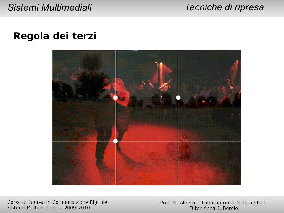 Regola dei terzi Tecniche di ripresaSistemi Multimediali Prof. M. Alberti – Laboratorio di Multimedia II Tutor Anna J. Berolo Corso di Laurea in Comun
