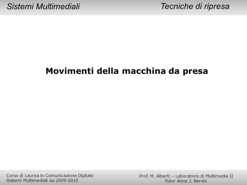 Tecniche di ripresaSistemi Multimediali Movimenti della macchina da presa Prof. M. Alberti – Laboratorio di Multimedia II Tutor Anna J. Berolo Corso d
