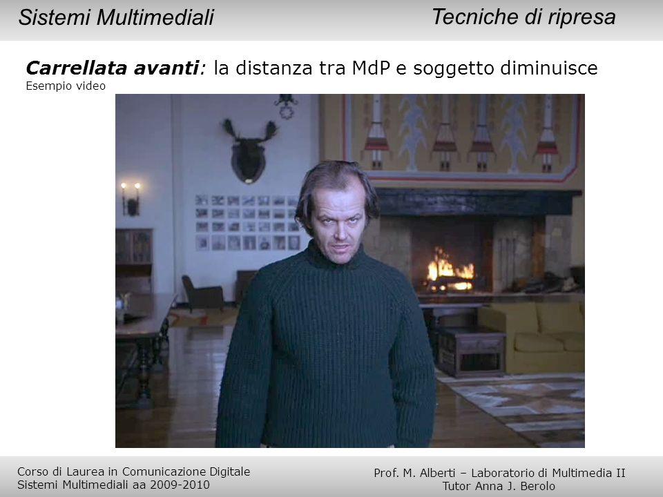 Tecniche di ripresa Carrellata avanti: la distanza tra MdP e soggetto diminuisce Esempio video Sistemi Multimediali Prof. M. Alberti – Laboratorio di