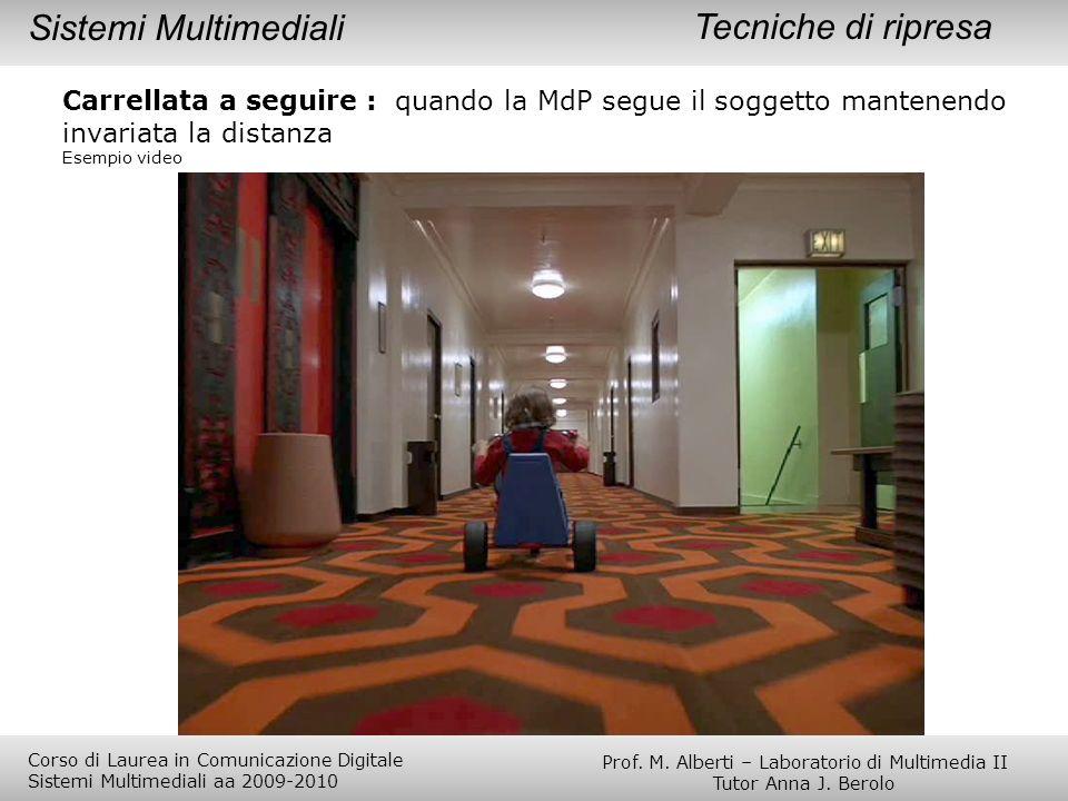 Tecniche di ripresa Carrellata a seguire : quando la MdP segue il soggetto mantenendo invariata la distanza Esempio video Sistemi Multimediali Prof. M