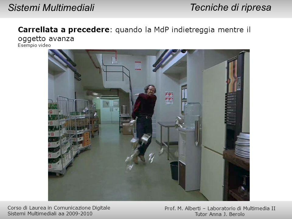 Tecniche di ripresa Carrellata a precedere: quando la MdP indietreggia mentre il oggetto avanza Esempio video Sistemi Multimediali Prof. M. Alberti –