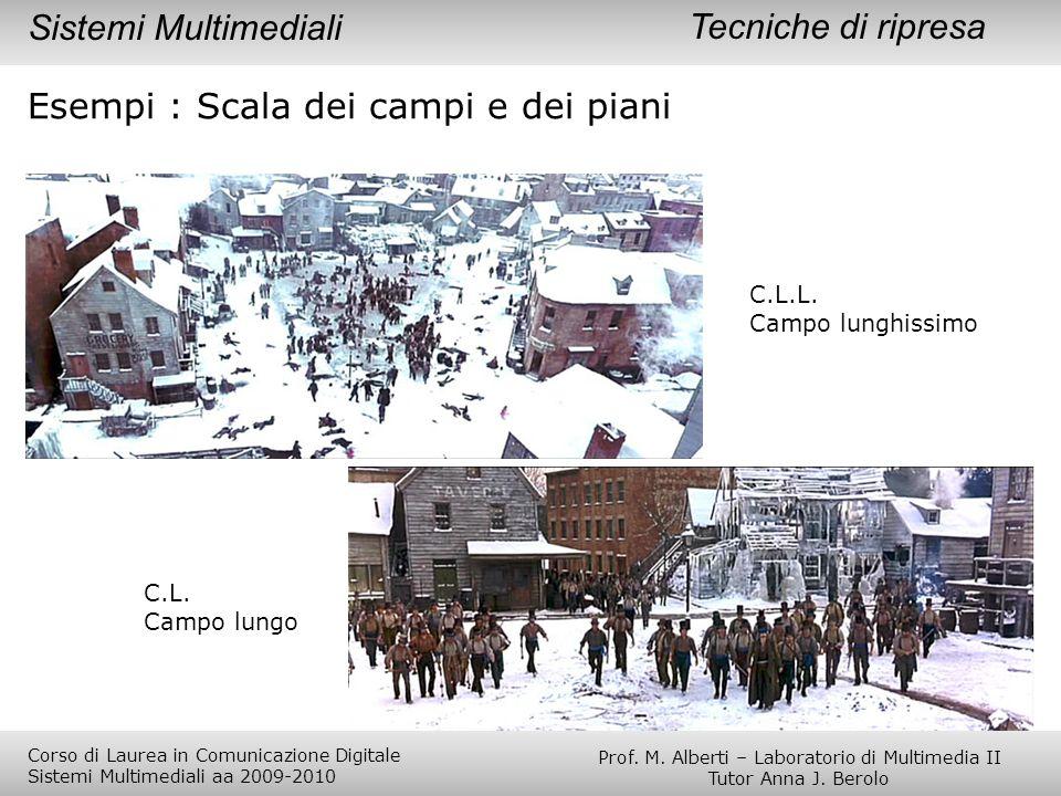 Esempi : Scala dei campi e dei piani C.L.L. Campo lunghissimo C.L. Campo lungo Tecniche di ripresaSistemi Multimediali Prof. M. Alberti – Laboratorio