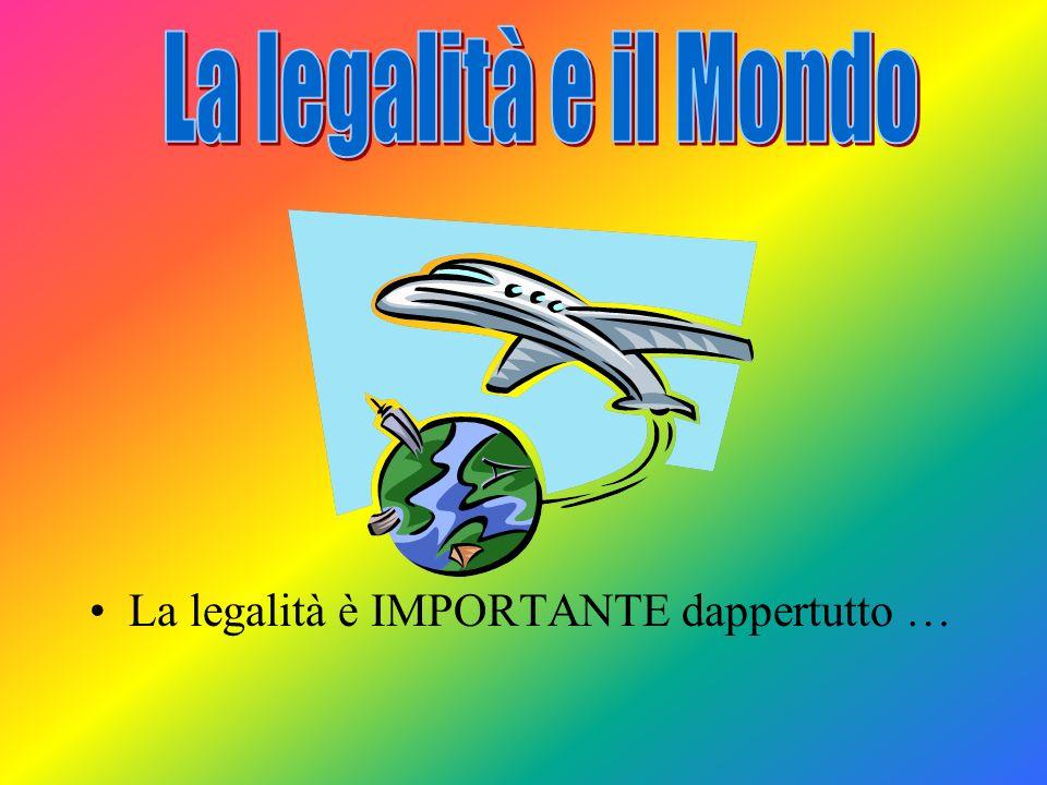 Legalità La legalità è molto importante per la convivenza di tutti noi, perché dobbiamo contribuire tutti al mantenimento della legalità…