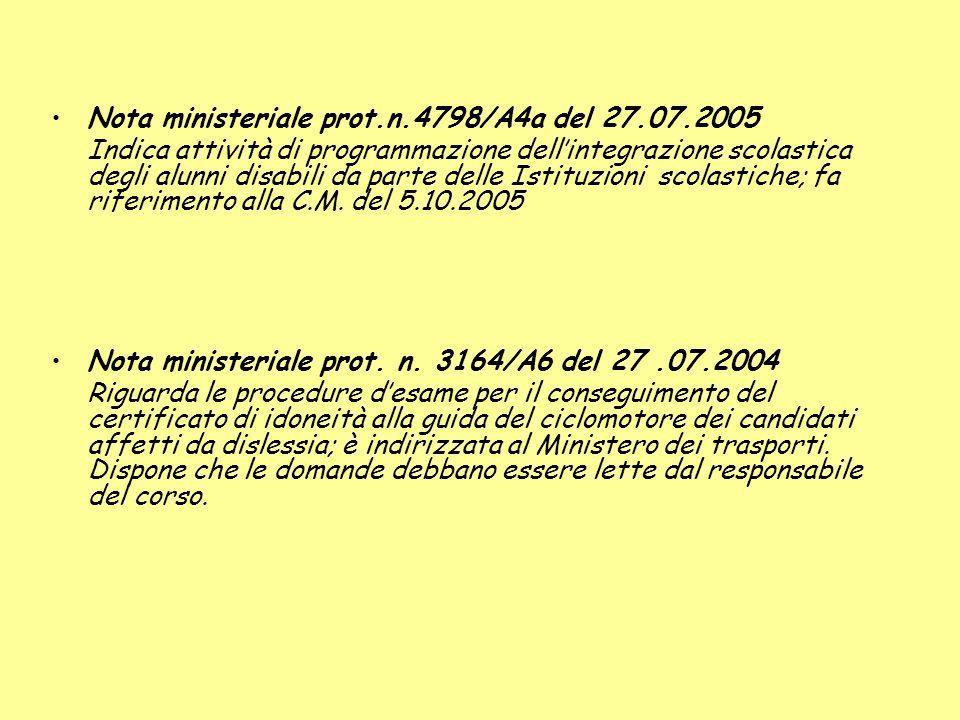 Nota ministeriale prot.n.4798/A4a del 27.07.2005 Indica attività di programmazione dellintegrazione scolastica degli alunni disabili da parte delle Istituzioni scolastiche; fa riferimento alla C.M.