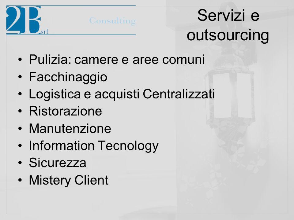 Servizi e outsourcing Pulizia: camere e aree comuni Facchinaggio Logistica e acquisti Centralizzati Ristorazione Manutenzione Information Tecnology Si