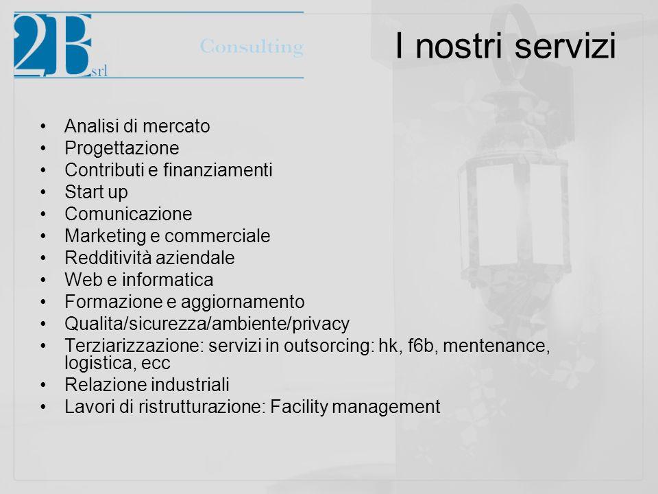I nostri servizi Analisi di mercato Progettazione Contributi e finanziamenti Start up Comunicazione Marketing e commerciale Redditività aziendale Web