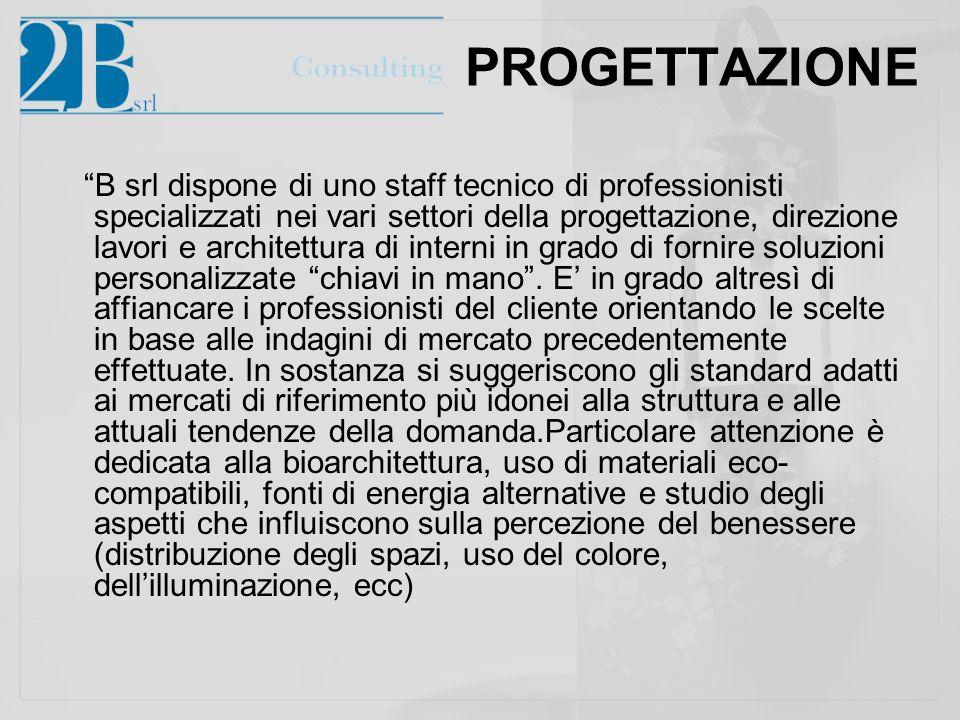 PROGETTAZIONE B srl dispone di uno staff tecnico di professionisti specializzati nei vari settori della progettazione, direzione lavori e architettura di interni in grado di fornire soluzioni personalizzate chiavi in mano.