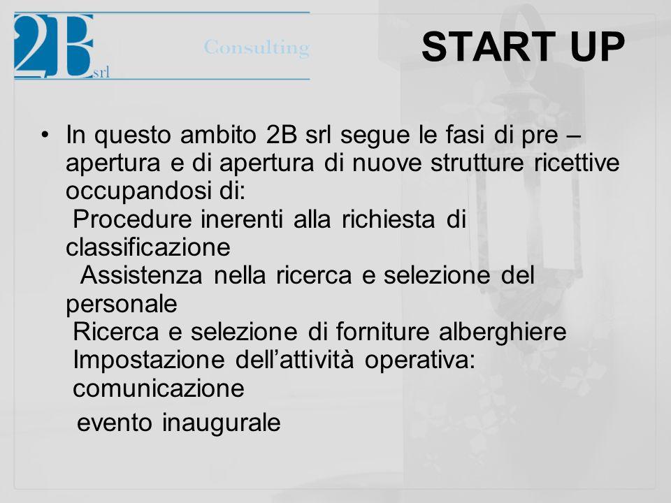 START UP In questo ambito 2B srl segue le fasi di pre – apertura e di apertura di nuove strutture ricettive occupandosi di: Procedure inerenti alla ri