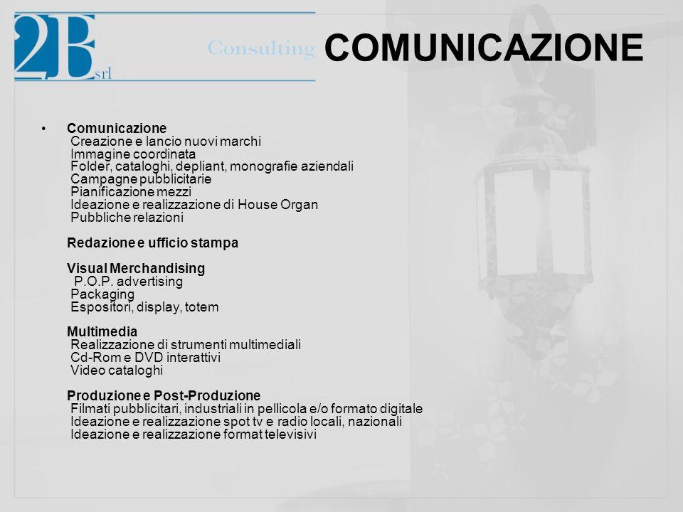 COMUNICAZIONE Comunicazione Creazione e lancio nuovi marchi Immagine coordinata Folder, cataloghi, depliant, monografie aziendali Campagne pubblicitar